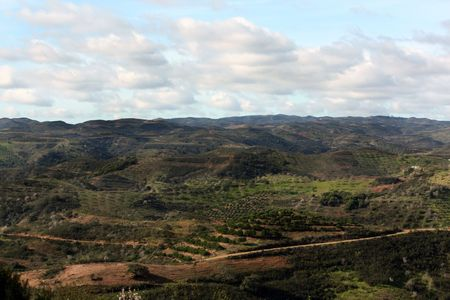 region of algarve: Wide view of the interior of the mountain region of Algarve on Portugal.
