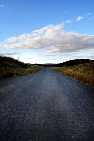 View of a asphalt road on the countryside region of Algarve. photo