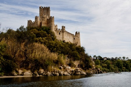 View of the beautiful Almourol castle located on a small island on the middle of the Tagus river, Portugal. Stock Photo