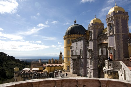 pena: Partial view of the beautiful Pena Palace located on the Sintra National Park on Lisbon, Portugal. Stock Photo