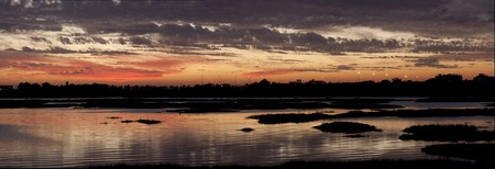 ria: View of a beautiful sunset on the Ria Formosa region on the Algarve, Portugal.