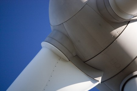 eolic: Close up view of the turbine of an eolic energy generator windmill.