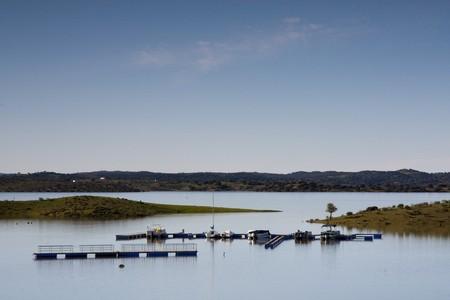 region of algarve: View of a small marine on the alqueva region, Algarve, Portugal. Stock Photo