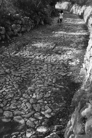 View of a stoned pathway where in the far corner a girl walks, lonely. photo
