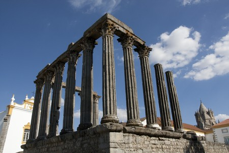 View of the beautiful Temple of Diana, located in Évora, Portugal.