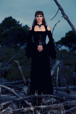 Dark gothic woman with dark clothes posing on the night forest. Stock Photo - 9052459