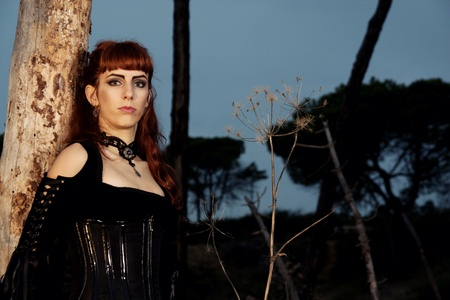 Dark gothic woman with dark clothes posing on the night forest. photo