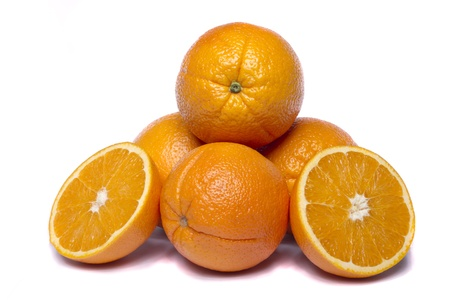 Close view of a bunch of oranges isolated on a white background