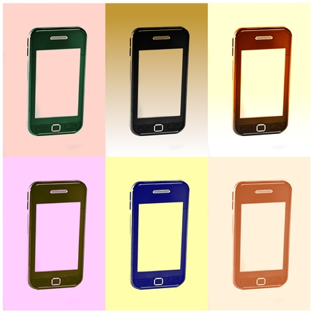 replicated: View of a modern touch screen mobile phone replicated in different color boxes.