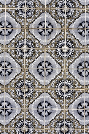 View of a beautiful texture of tiled azulejo wall. Stock Photo