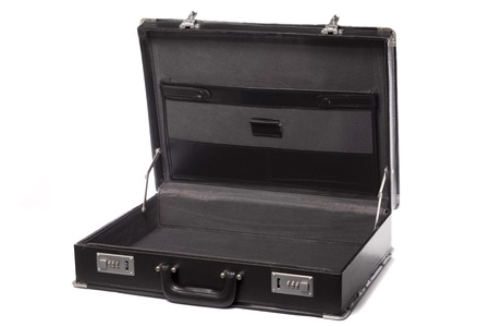 Close up view a modern black business briefcase isolated on a white background.