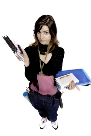 overweight students: View of a teenager school girl holding books on a white background. Stock Photo