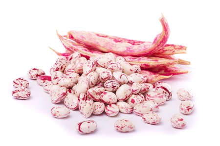 crusted: Close detail view of borlotti beans isolated on a white background.