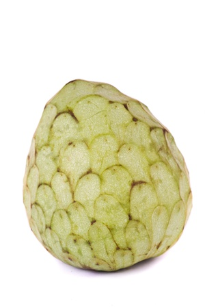 annona: Close up view of an annona fruit isolated on a white background.