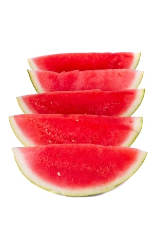 Close up view of a watermelon fruit isolated on a white background. photo