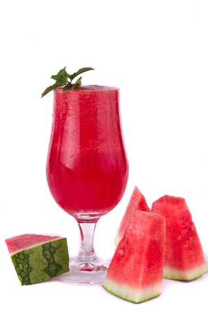 Red fresh made watermelon juice isolated on a white background.