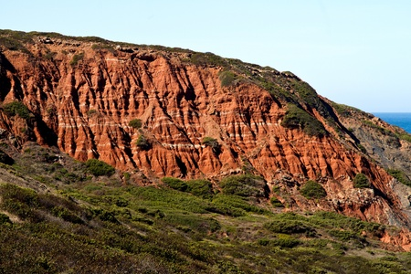 View of the cliff geologic formation next to Sagres in the Algarve, Portugal. photo