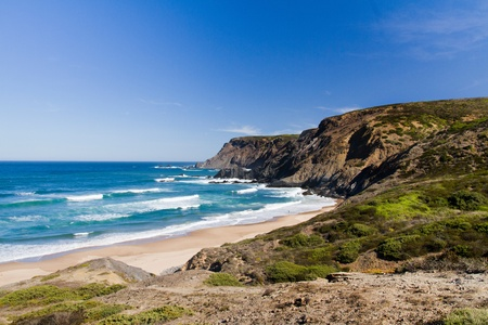 region of algarve: View of a beautiful beach in Sagres nearby region on the Algarve, Portugal.