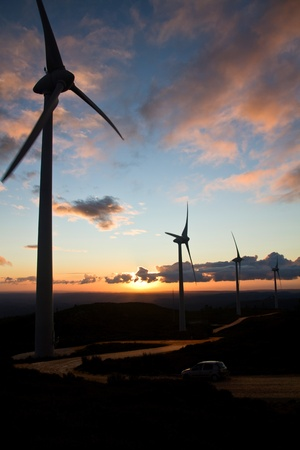 windy energy: View of a landscape filled with eolic generators at sunset. Stock Photo