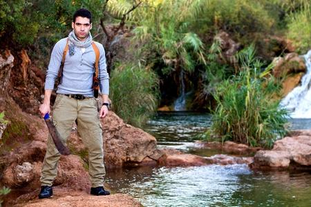 machete: View of an treasure hunter, jungle adventurer type man.