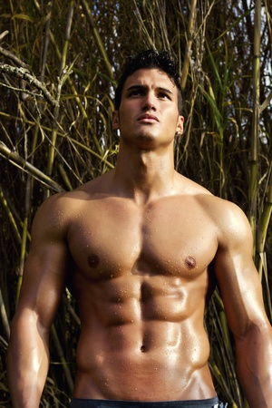 View of a very fit male model with muscles on the countryside. Stock Photo