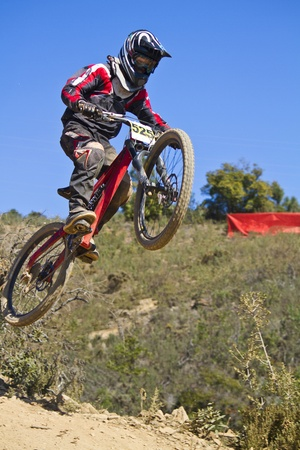 View of a btt downhill bike dirt competition.