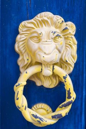 Close up view of a lions head doorknob. photo