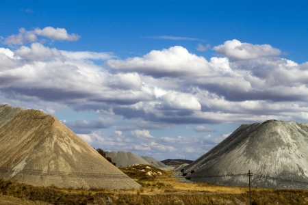 View of manmade hills of sand and cement extraction on the Alentejo region. Stock Photo - 15274897