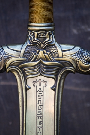 medieval sword: Close up view of a fantasy sword intricate detail.  Stock Photo