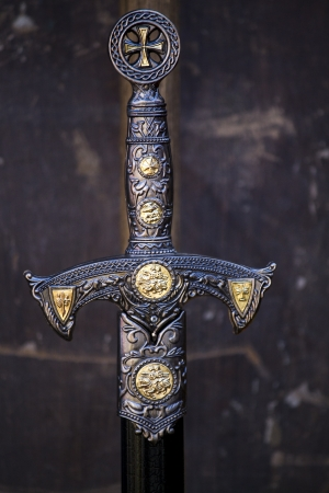 hilt: Close up view of a fantasy sword intricate detail.  Stock Photo