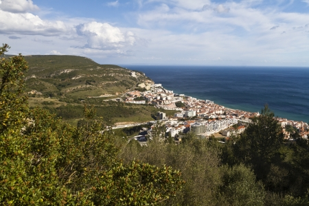 View of the beautiful coastal fishing town Sesimbra, Portugal. photo