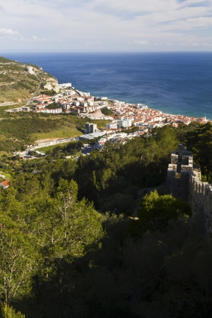 View of the beautiful coastal fishing town Sesimbra, Portugal. Stock Photo - 15274919