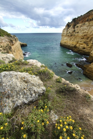 View of the beautiful natural coastline of the region of Lagoa, Algarve, Portugal. photo