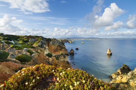 region of algarve: View of the beautiful natural coastline of the region of Lagos, Algarve, Portugal. Stock Photo