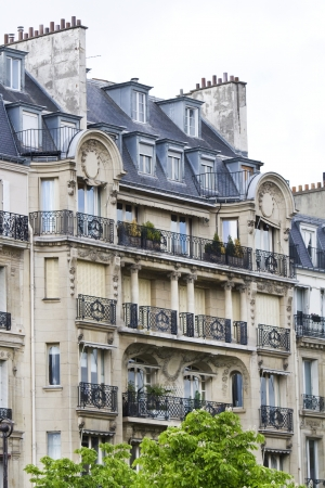 Close up section of the typical buildings of the streets of Paris, France.