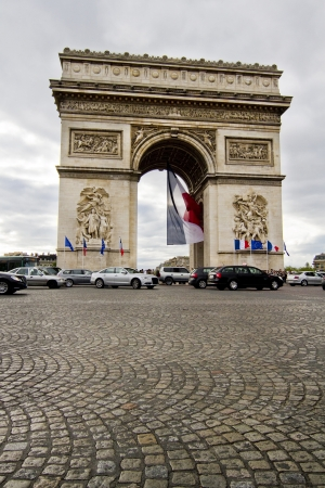 View of the iconic monument Arc of Triumph in Paris, France.
