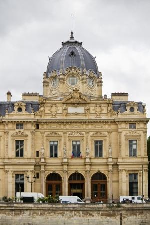 tribunal: Partial view of the wonderful building, Tribunal de Commerce de Paris, France.  Editorial