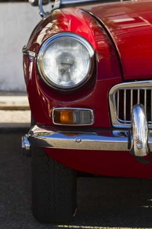 collectible: Detail view of a vintage car on display on a city. Stock Photo