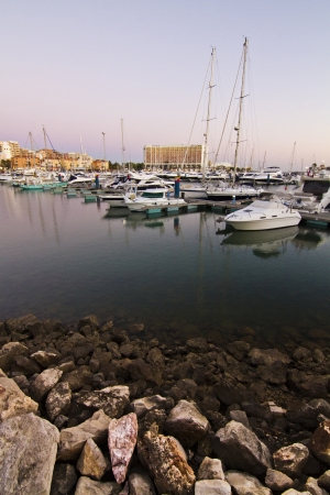 vilamoura: View of a marina in the city with many recreational boats.