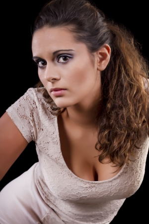 View of a beautiful young girl with pony tail. photo