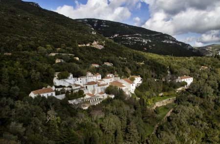 senhora: Beautiful landscape view of the National Park Arrabida in Portugal, on the center theres the Convent of Nossa Senhora da Arrabida.