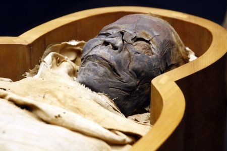 Close view of an open casket of a Egyptian mummy in the Vatican Museums.