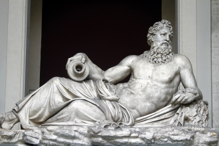 pio: View of the River god (Arno). On display in the Octagonal Court of the Pio Clementino Museum in Vatican city.
