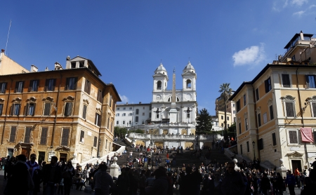 Spagna: View of Piazza di Spagna (Spain Square) located in Rome, Italy.