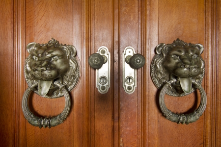 Close up view of a beautiful detailed doorknob in the shape of a lion. photo