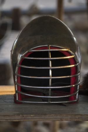 head protection: Close up view of a kendo head protection equipment. Stock Photo