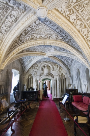 View of a beautiful inside room located on Palace of Pena, located in Sintra, Portugal.
