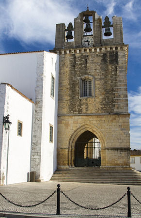 se: View of the historical Church of Se located on Faro, Portugal. Stock Photo