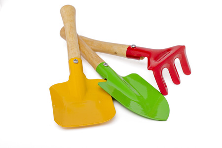 Close Up View Of A Small Gardening Tools Isolated On A White Background.  Stock Photo