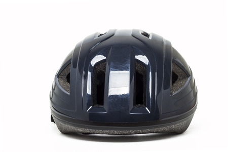 head protection: Close up view of mountain bike cycling head protection isolated on a white . Stock Photo